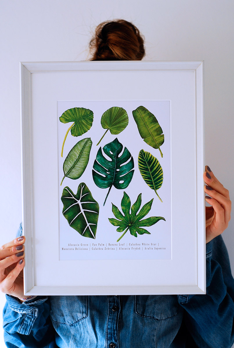 tropical_leaves_watercolor_art_print_frame_2